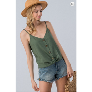 Linen Solid Adjustable Strap Coconut Button Cami