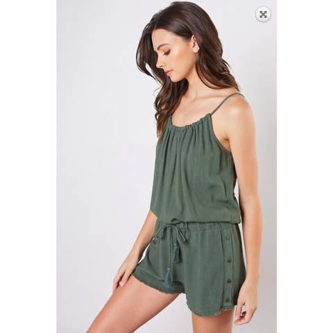 Olive Woven Romper with Drawstring Straps Side Button Detail and Frayed Hem