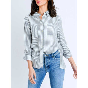 Black Striped Relaxed Summer Button Down Shirt with Front Pocket Detail