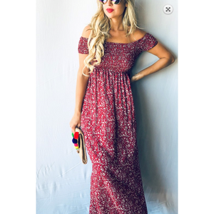 Red Classic Floral Off Shoulder Smocked Top Maxi Dress
