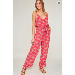 Cherry Red Floral Adjustable Cami Strap Tie Front Jumpsuit with Side Pockets