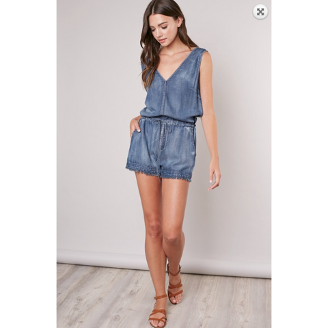 Washed Denim Front Back V with Side Pockets and Frayed Hem Romper