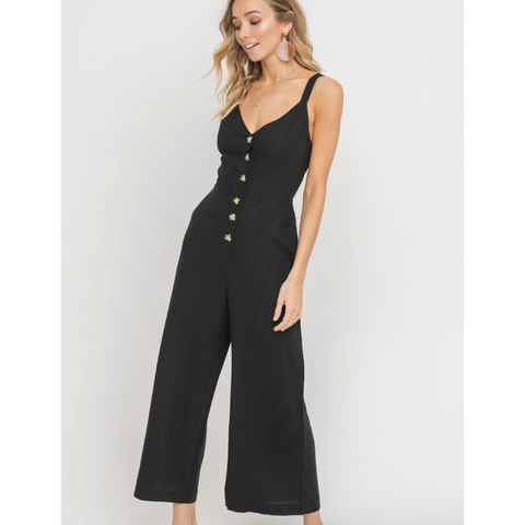 Black Linen Button Front Shirred Back Wide Leg Jumpsuit