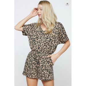 Leopard Print Knit Casual Leisure Romper with Drawstring Waist and Side Pockets