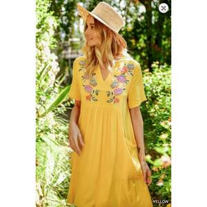 Sunflower Yellow Bohemian Embroidered Floral V Split Round Neck Dress with Side Pockets