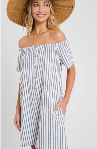 Striped Off Shoulder Front Button Frayed Hem Dress