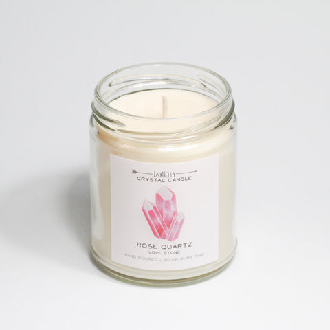 JaxKelly - Rose Quartz Crystal Candle - Love | 9 oz
