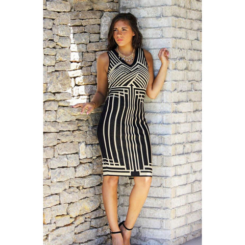 Fly Tom Gold Stripe Sweater Dress