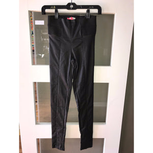 Black Vegan Leather Pants w Zipper Detail