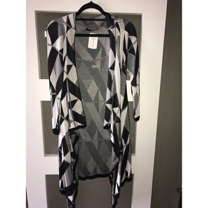 Black White Abstract Print Cardigan