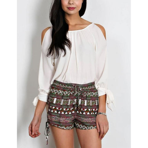 Loveriche Burgandy Side Drawstring Tie Aztec Print Shorts