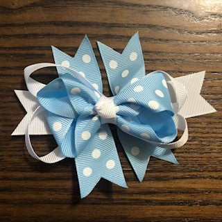 Polka Dot and White Ribbon Girls's Hair Bows