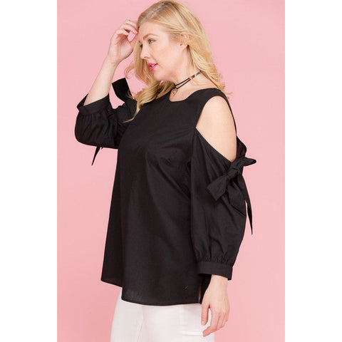 PLUS Cotton Poplin Cold Shoulder Top featuring cold shoulder sleeves and Bow-Tie Details