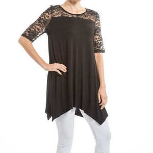 Black Lace Asymmetric Tunic