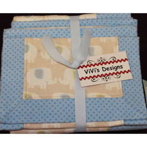Baby Blanket & 2 Burp Cloths - Blue, Gray & White Elephants & Dots