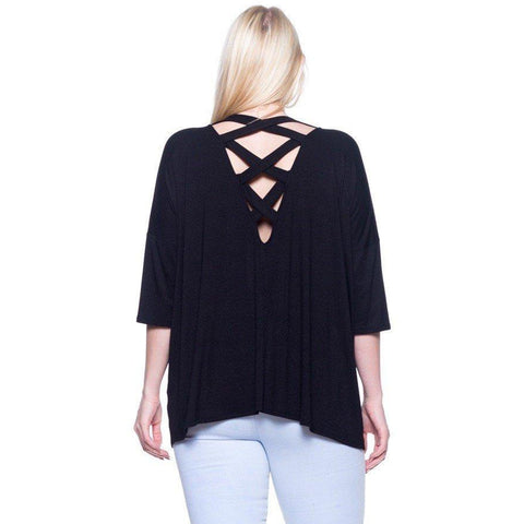 TRUE PLUS Lattice back dolman sleeve top in Navy