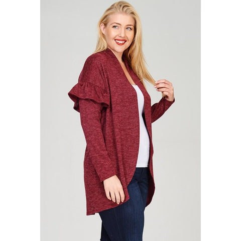 PLUS Two-toned hacci open cardigan featuring ruffled long sleeves