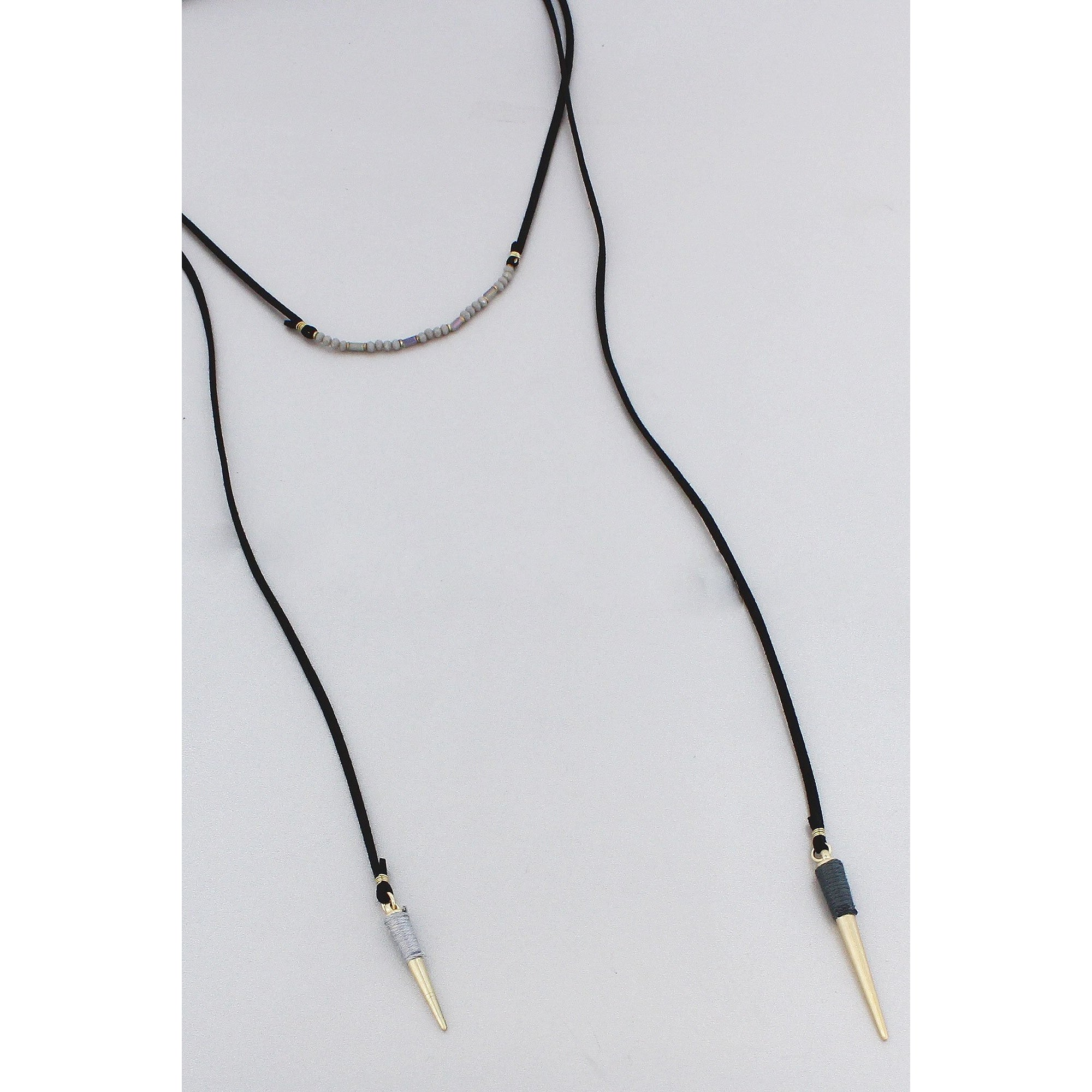 Black Leather Necklace  with Spike Endings and Grey Bead Accents