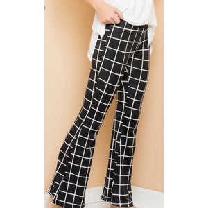 Black and White Checked Flair Pants