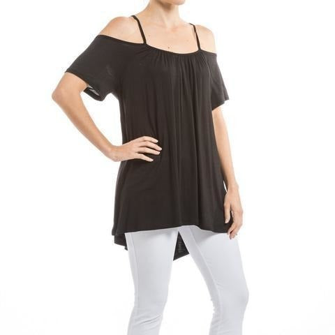 Black Cold Shoulder Spaghetti Top