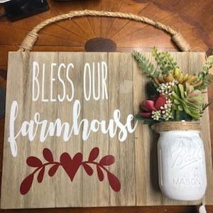 """Bless our farmhouse"" Wooden Sign"