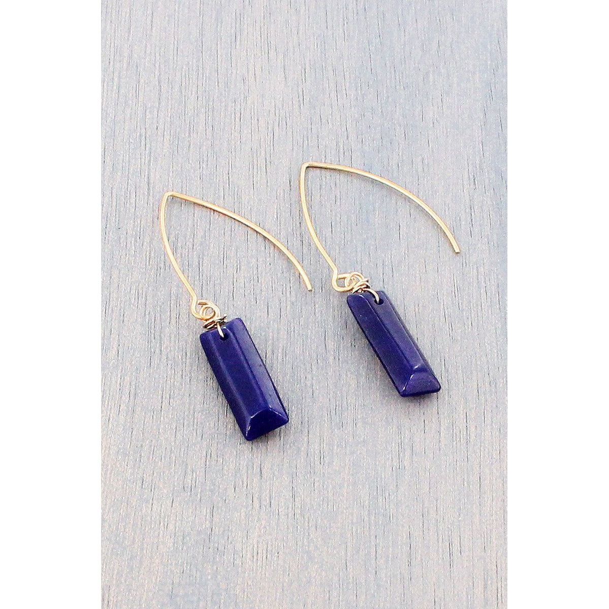 Blue Gemstone Bar Worn Gold Tone Earrings