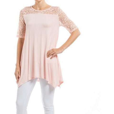 Plus Light Pink Lace Asymmetric Tunic