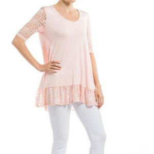 Plus Light Pink Lace Sleeves & Trim Tunic