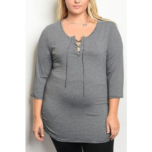Striped 3/4 Sleeve Fitted Tunic with a Lace Up Scoop Neckline