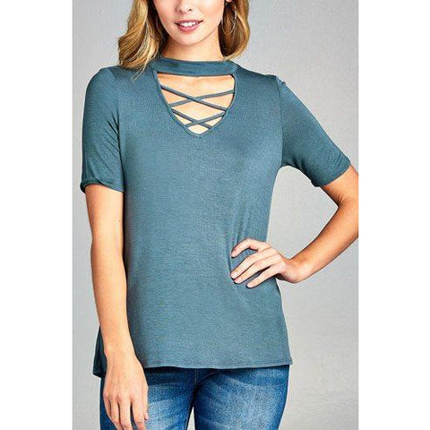 Short Sleeve Cross Strap with Choker Neck