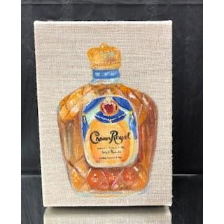 Hand Painted Bottle with Acrylic Paint on Linen Box