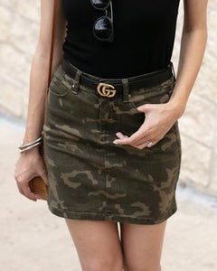 Camo denim skirt