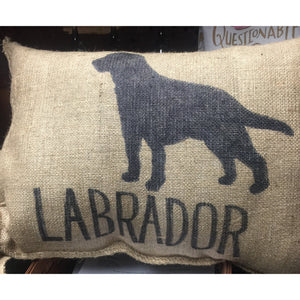 Burlap Pillow Case with Dogs