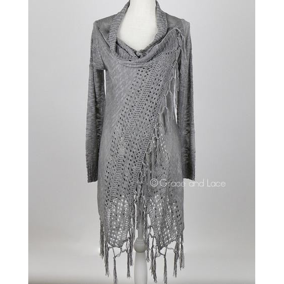 Fringe Two Way Cardigan in Grey S/M