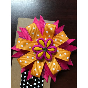 Small Bow - Pink & Orange Flower