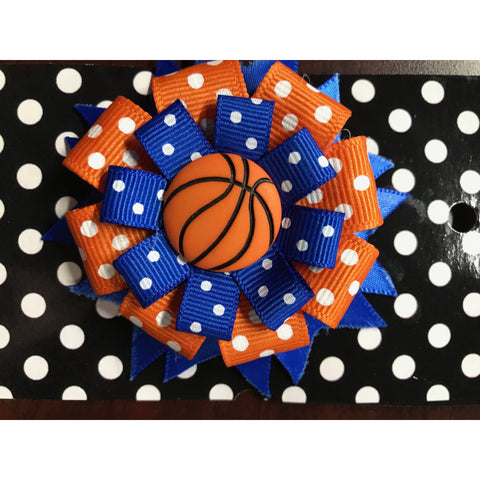 Large Bow - Orange & Blue with Dots & Basketball