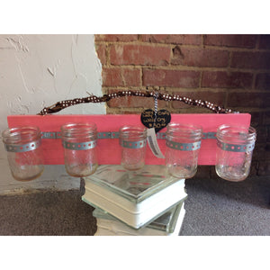 Pink with Mason Jars Wall Organizer