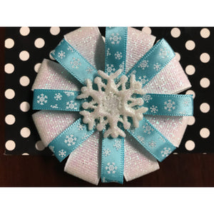 Medium Bow - Blue with White Flakes