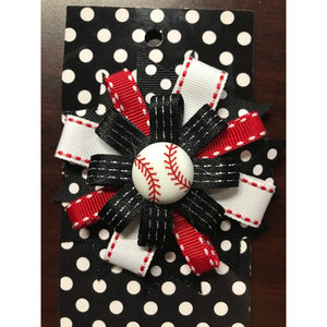 Medium Bow - Red, Black, & White Baseball