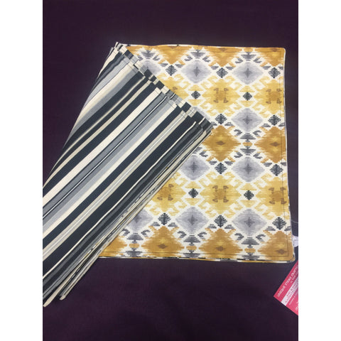 Gold/Gray Aztec Front Black & Gray Stripe Back - Placemats