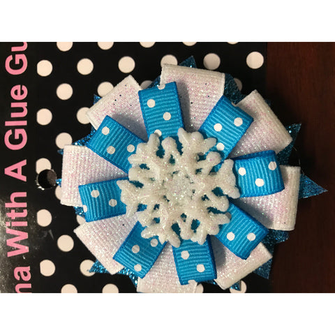 Large Bow - Blue W/ White Dots ; Snow Flake