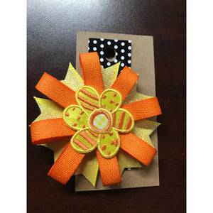 Small Bow - Orange & Yellow Flower