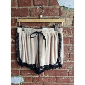 Cream Black Lace Trim Shorts