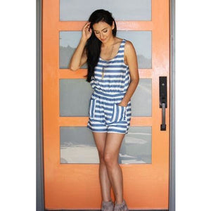 Striped Romper with Pockets