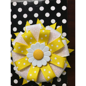 Large Bow - White & Yellow Flower