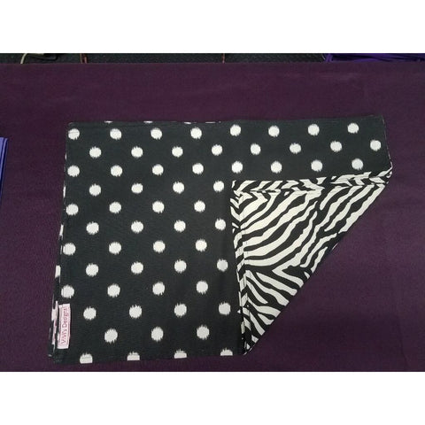 Black & White Zebra Front with Black & White Polka Dots Back Placemat