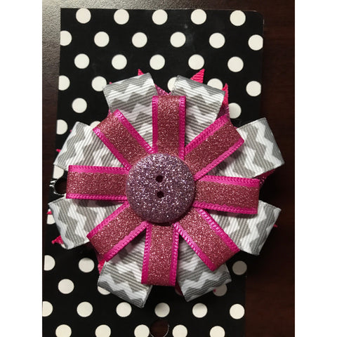 Medium Bow - Pink Sparkle Button