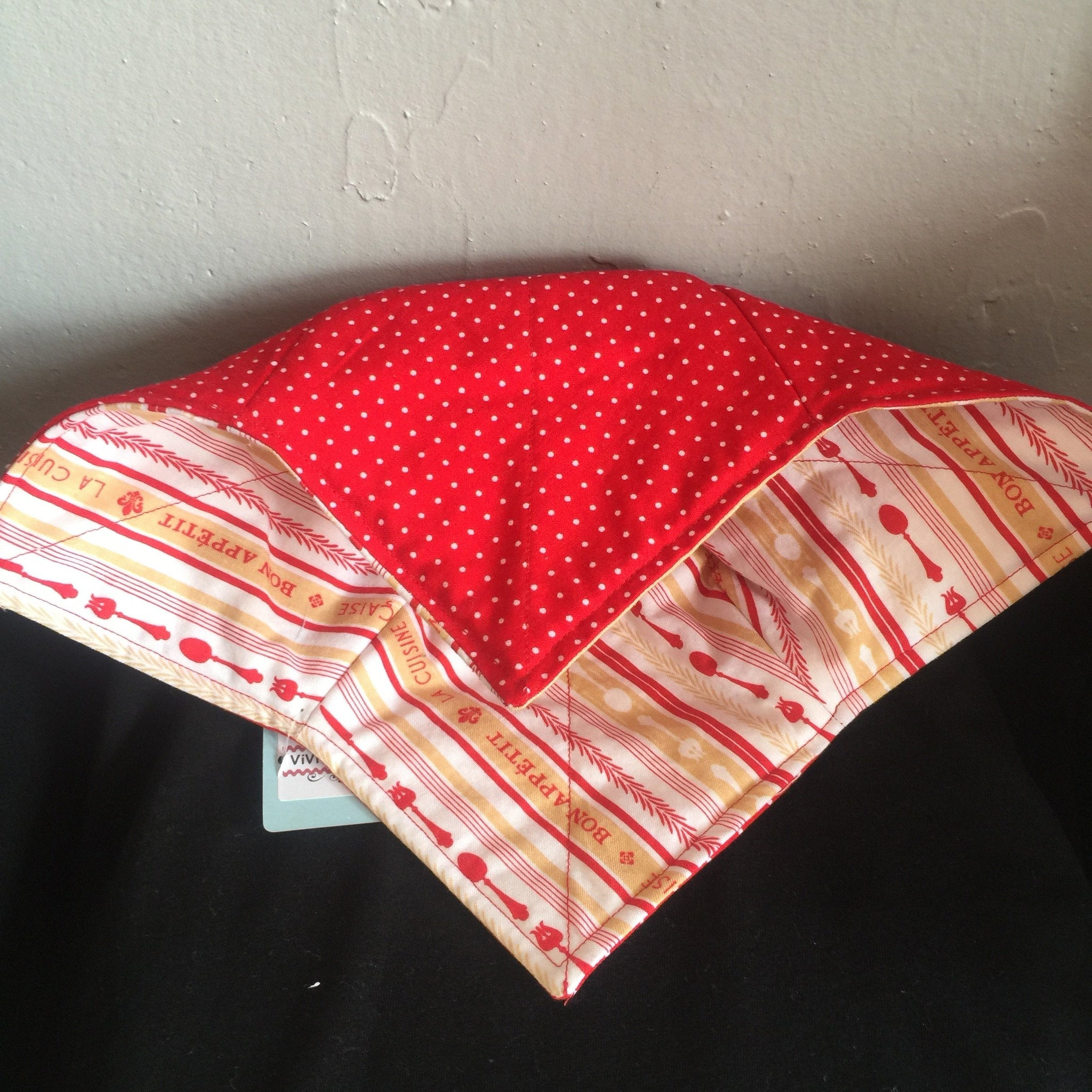 Bowl Cozy - Red & White Utensils / Red & White Dots