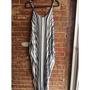 Navy Stripe Maxi Dress with Pockets