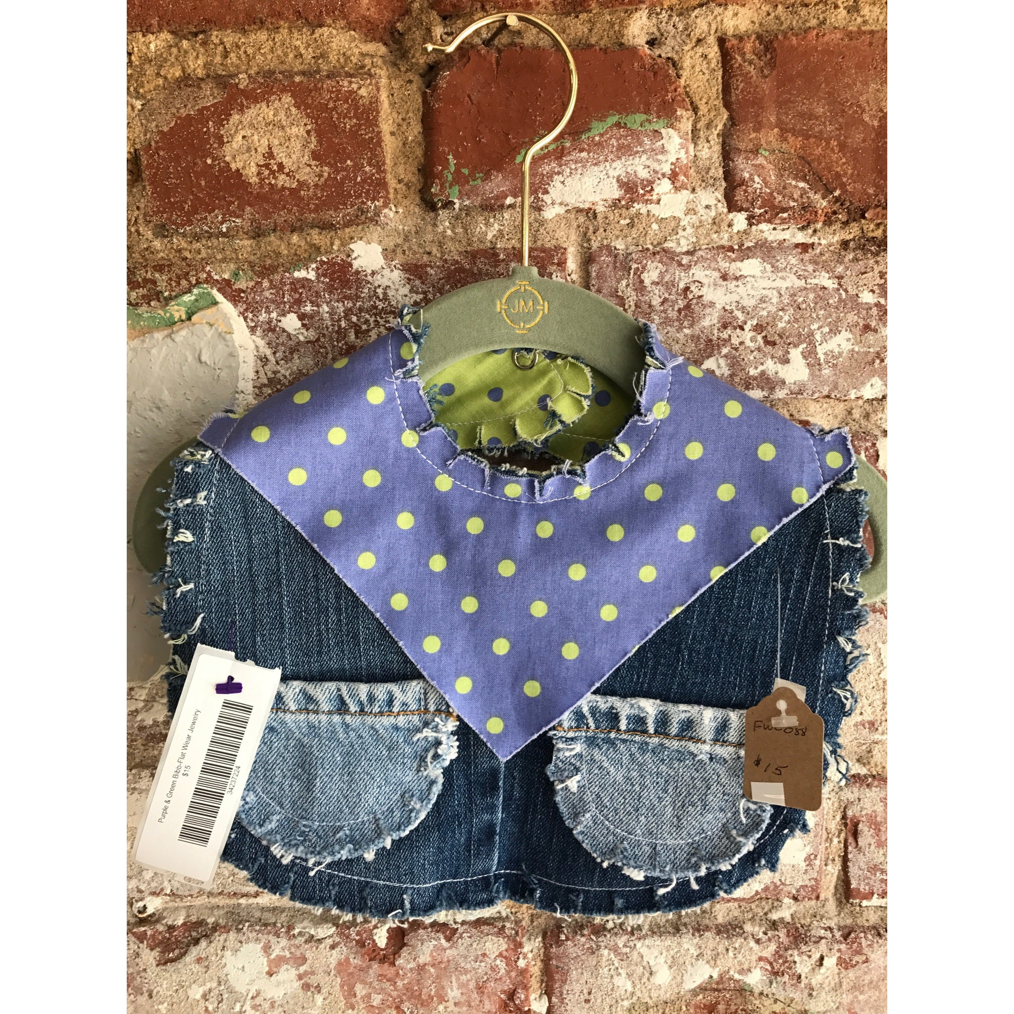 Purple & Green Denim Bib